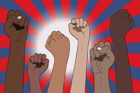 Protest concept banner, raised up fists in different skin color illustration.