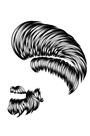 Bearded hipster hairstyle for men in black and white design.