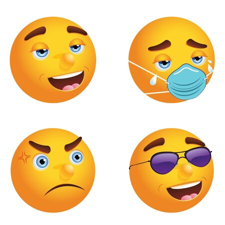 Different emoticons with face mask and without, expressional faces. Vetores