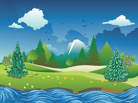 Fast river, fir trees near big mountain summer landscape. Illustration