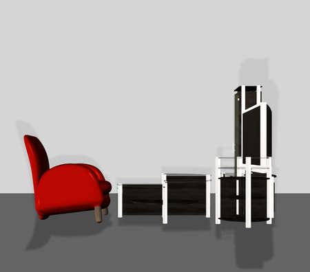 Digital rendered modern tv set with furniture 3d illustration. Banque d'images - 151149085