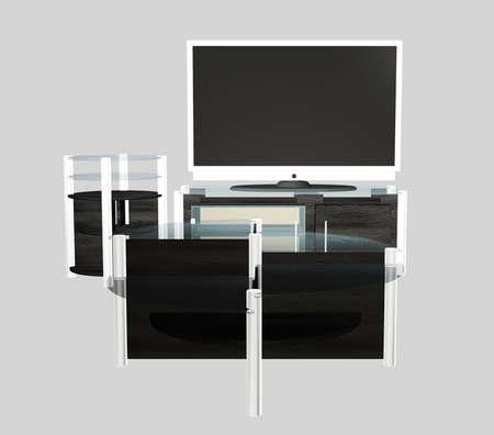 Digital rendered modern tv set with furniture 3d illustration. Banque d'images