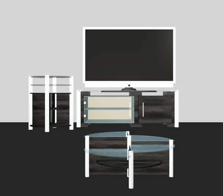 Digital rendered modern tv set with furniture 3d illustration. Banque d'images - 151149084