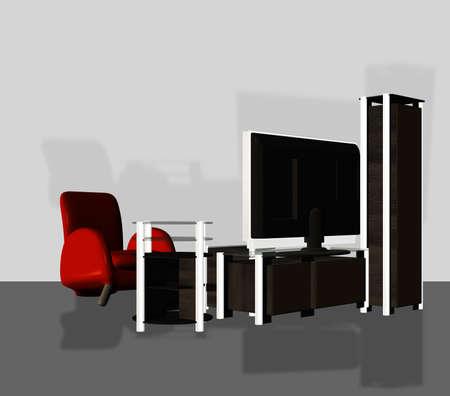 Digital rendered modern tv set with furniture 3d illustration. Banque d'images - 151149092