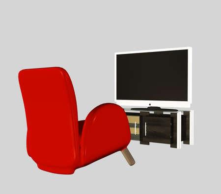 Digital rendered modern tv set with furniture 3d illustration. Banque d'images - 151149091