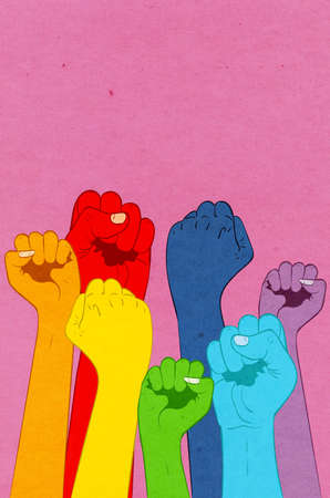 Seven raised up fists in rainbow colors, grunge textured illustration.