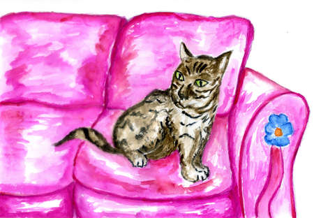 Hand drawn sketch of living room with comfort sofa and cat colorful illustration. Reklamní fotografie - 151149132