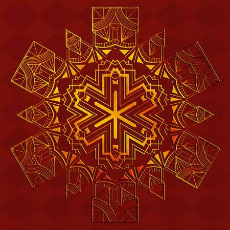 Decorative geometric golden snowflake, retro art deco style ornament.