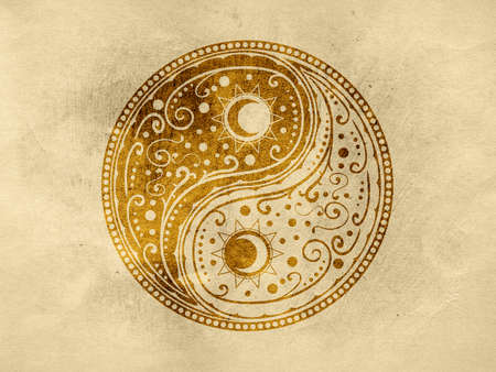 Circular ornament yin yang sign paisley design textured with paper background. Reklamní fotografie