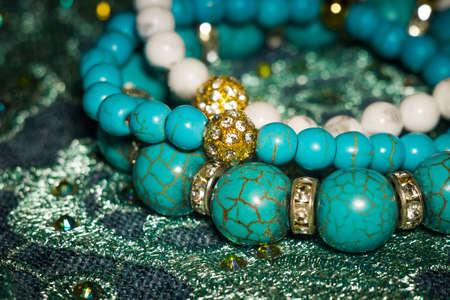Boho beaded bracelets with white and blue dyed howlite stones. 스톡 콘텐츠