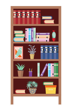 Abstract bookshelf with books and house plants illustration. Stock Illustratie