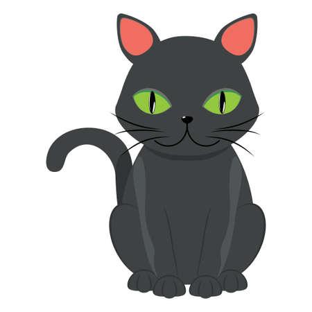 Cute cartoon black cat with big green eyes over white background. Ilustración de vector