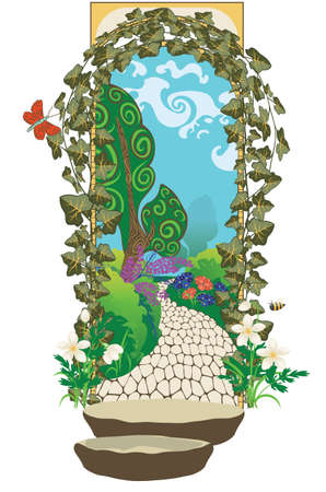 Vintage arch shaped gate in the secret garden illustration. Ilustracja
