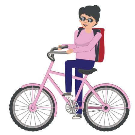 Abstract cartoon woman with backpack riding bicycle illustration.