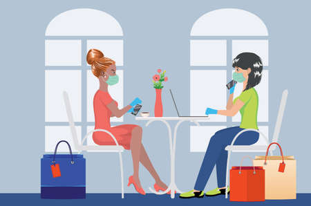 Cartoon women in mask with shopping bags working on laptop in cafe background. 矢量图像
