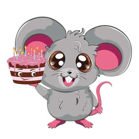 Cartoon kawaii anime gray mouse or rat with chocolate cake design.