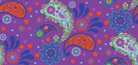Abstract decorative retro paisley pattern ornament illustration.
