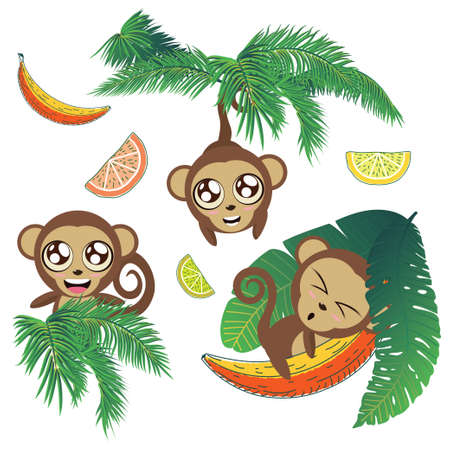 Cute cartoon monkey with banana and tropical leaves background.