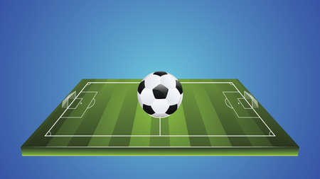 Football or soccer field with ball and white markings illustration.