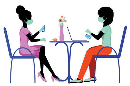 Freelancers, students or business women in mask sitting on a chair and working on laptop in cafe or from home. Illustration