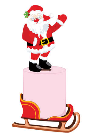 Cartoon Santa Claus and roll of pink toilet paper on white background.