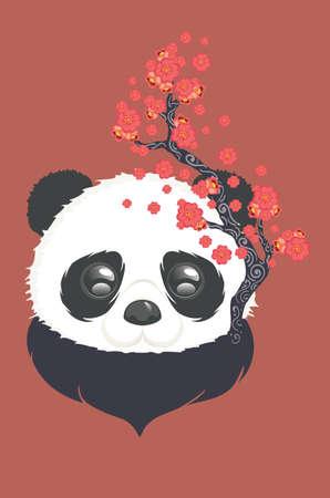 Cute cartoon panda bear with blooming sakura, kawaii animal design. Illustration