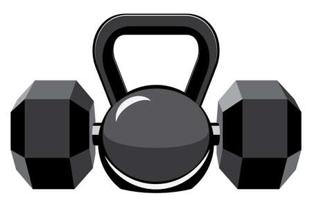 Abstract fitness club  dumbbells and kettlebell design illustration.