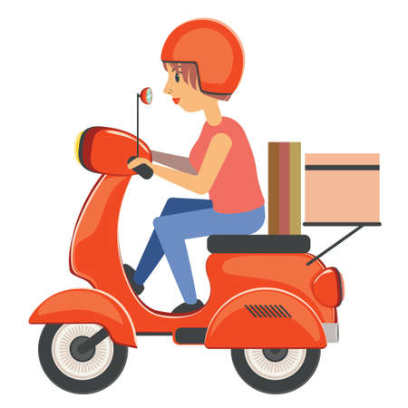 Abstract cartoon girl riding scooter, motorbike illustration on white background.