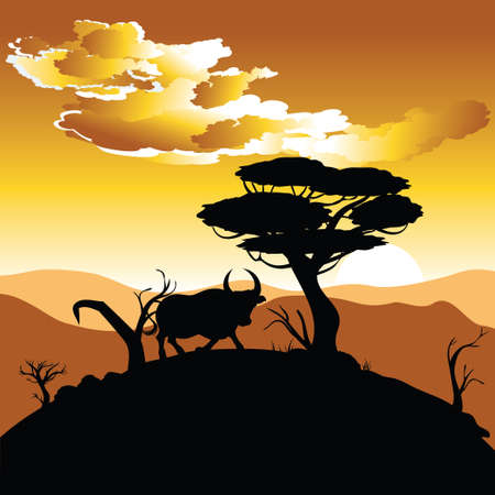 Illustration of landscape and bull silhouette at sunset time. Иллюстрация