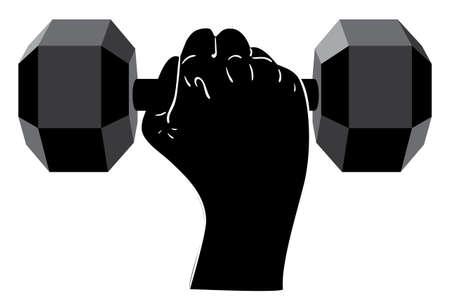 Human hand holding dumbbells, sports themed illustration. Illustration