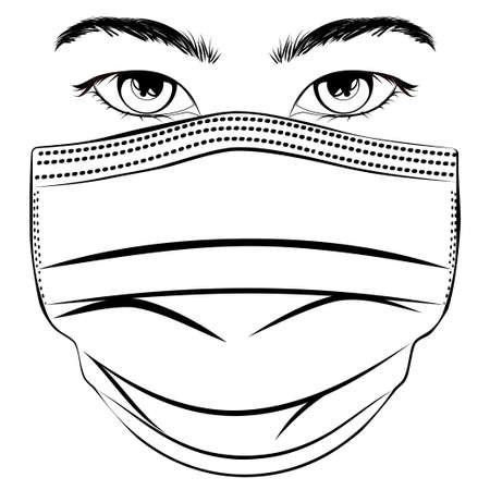 Abstract male eyes with disposable face mask illustration design.