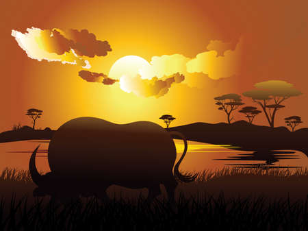 Illustration of landscape and bull silhouette at sunset time. 矢量图像