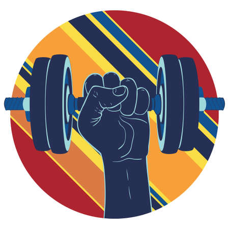 Human hand holding dumbbells, sports themed retro illustration.