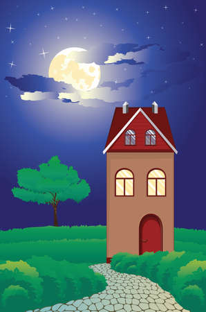 Vintage cottage in countryside, night summer landscape illustration.