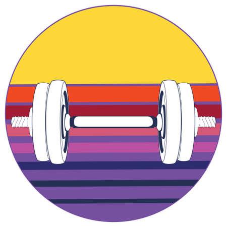Abstract fitness themed retro design, dumbbells background illustration.