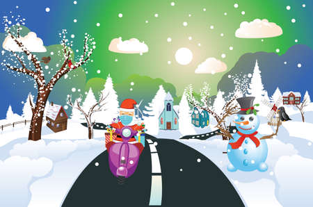 Cartoon Santa Claus in face mask rides scooter with gifts on night winter town. Ilustración de vector