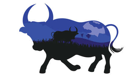 Illustration of night landscape inside of a bull silhouette design.