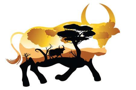 Illustration of sunset landscape inside of a bull silhouette design.