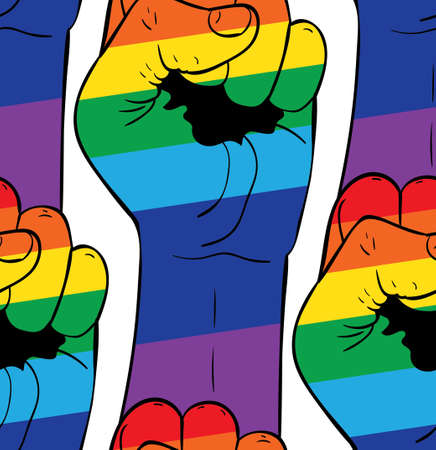 Raised clenched fist in rainbow colors, fight for rights concept, pattern background.