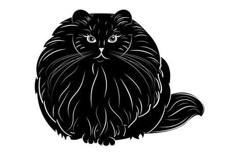 Cute cartoon cat fat very furry illustration. Vetores