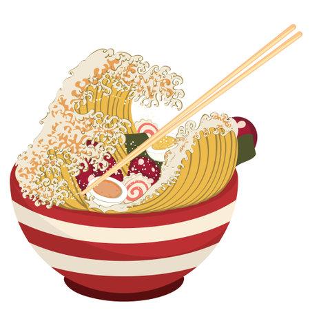 Cartoon red bowl of ramen, noodles in a wave shape illustration.