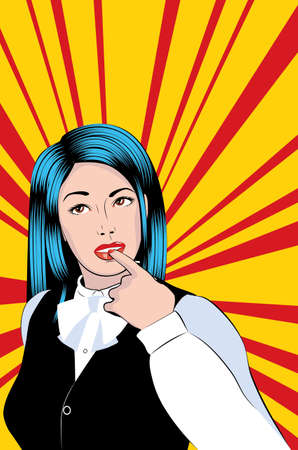 Young thoughtful woman, retro pop art style illustration. Vettoriali
