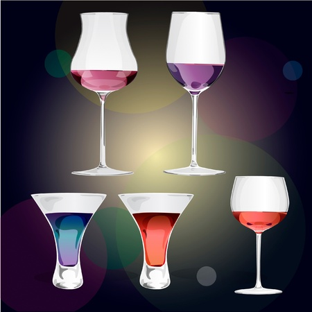 champagne glasses: Colorful wine, Cocktail and champagne glasses  Illustration