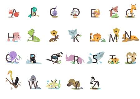 alfabeto con animales: Estos 26 animales lindos del alfabeto Vectores