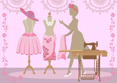 Tailor is changing clothes to dressmaker 矢量图像
