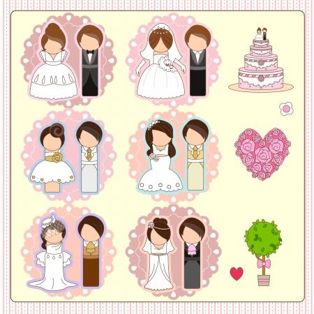 六つの結婚式のカップル、1 つのウェディング ケーキ、1 つハート型バラの花束と 1 本の木