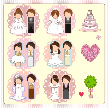 Six of wedding couple, one wedding cake, one heart-shaped bouquet of roses and one tree  Vector