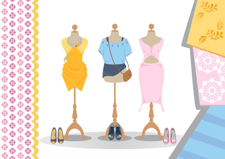 mannequin: Many clothes on mannequins wiith high heel shoes and court shoes. Illustration