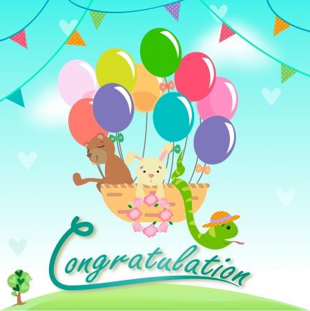Rabbits, snakes, bears, we come to congratulate  Stock Vector - 18264748