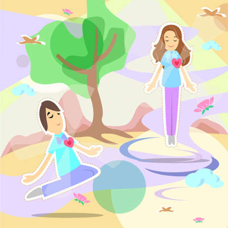 Man and lady in comfort poses with smiling faces feel relax and release through the environment of nature  Stock Vector - 18370646